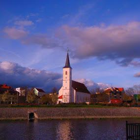 Church on river bank by Libuše Kludská - City,  Street & Park  Historic Districts