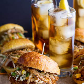 Sweet Tea Oven-Fried Chicken Sliders w/ Jalapeno Cheddar Corn Slaw + Crispy Onions.