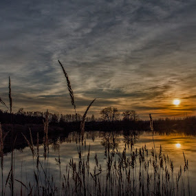 Sunset on the lake by Jiří Valíček - Landscapes Sunsets & Sunrises ( sunset, the lake,  )
