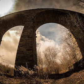 Starrucca Viaduct by Becky Adolf - Buildings & Architecture Bridges & Suspended Structures ( fisheye, viaduct, train, stone, pennsylvania, bridge,  )