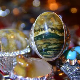 Arjuno mountain scenery in gemstone by Totok Wahyu Indiarto - Artistic Objects Jewelry