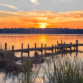 Serentity  by April Sadler - Buildings & Architecture Bridges & Suspended Structures ( #water #sky #lake #sunset #dock )