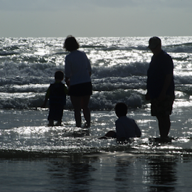 Curioso Family  by John Wright - Sports & Fitness Swimming ( water, water fun, waves, silhouette, curioso, image brief, beachl, fun, surf, christopher, swimming )