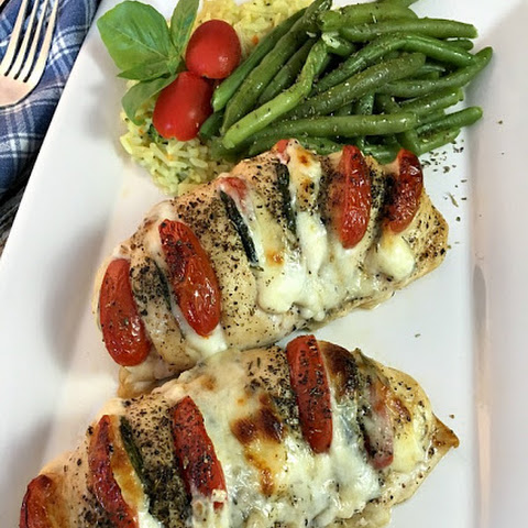 Chicken Stuffed with Mozzarella, Tomato and Basil