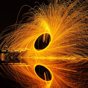Fire Eye by George Bloise - Abstract Fire & Fireworks ( night, long exposure )