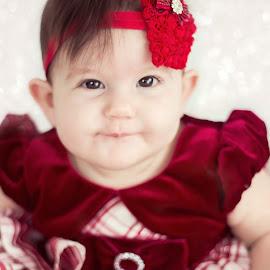 Cutie by Jenny Hammer - Babies & Children Babies ( girl, red headband, baby, cute, pretty )