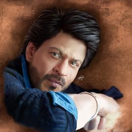 Digital Painting Of Shahrukh Khan by Siddhartha Sinha by Siddhartha Sinha - Illustration People ( painting, oil art, digital painting, artwork, digital art )
