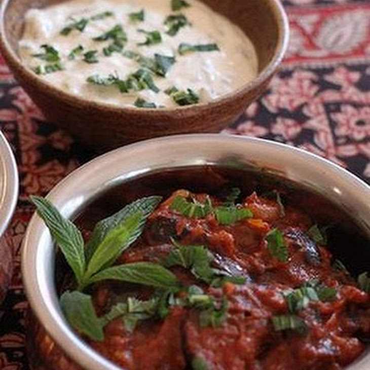 Eggplant And Tomato With Yoghurt And Mint Sauce Recipe | Yummly