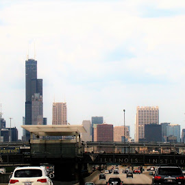 Chicago Skyline 1 by Yvonne Collins - City,  Street & Park  Street Scenes