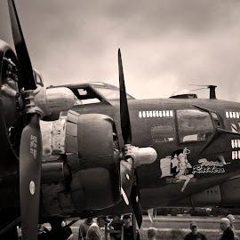 Texas Raiders B-17G by Jim Oakes - Transportation Airplanes ( b17, ww1, plane, black and white, day )