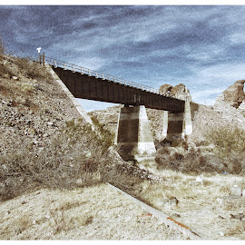 Train Bridge by Johnny Knight - Novices Only Landscapes ( cliffs, desert, railway, nature, railroad, outdoors, arizona, vista, canyon, kodak, travel, bride )