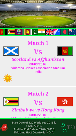 android T20 World Cup Schedule 2016 Screenshot 0