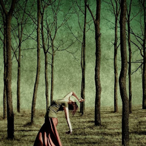 ''The Dance'' by Birgitta Lindsey - People Body Art/Tattoos ( skirt, green, trees, forest, birgitta, landscape, dance, people, woods, branches )