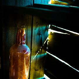 Old Bottle by Darrell Portz - Artistic Objects Other Objects ( atlas mine, old, drumheller, bottle, sunbeam )