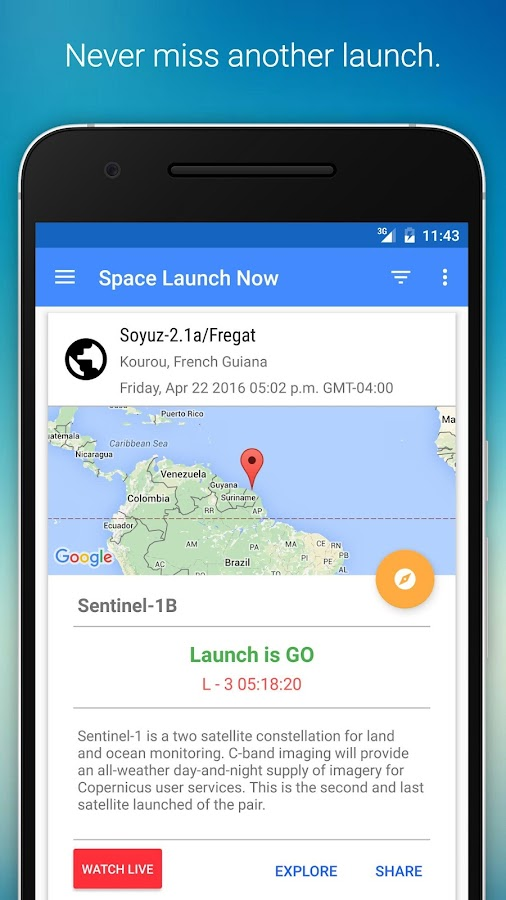 Space Launch Now Screenshot 1