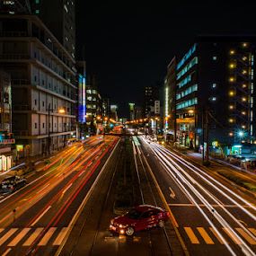 Life in the slow lane by Kurt K Gledhill - City,  Street & Park  Street Scenes ( okayama, japan, color, night, nikon )