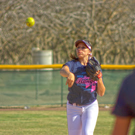 Throw for Cancer by Matt Dittsworth - Sports & Fitness Other Sports ( throw, girl, hdr, softball, pink, yellow )