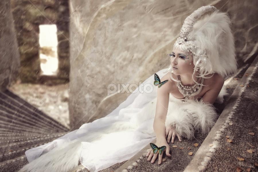 White Unicorn Princess by Danny Tan - Digital Art People ( fantasy, photos, butterfly, fashion, model, russian, designer, photographer, white, unicorn, styling )