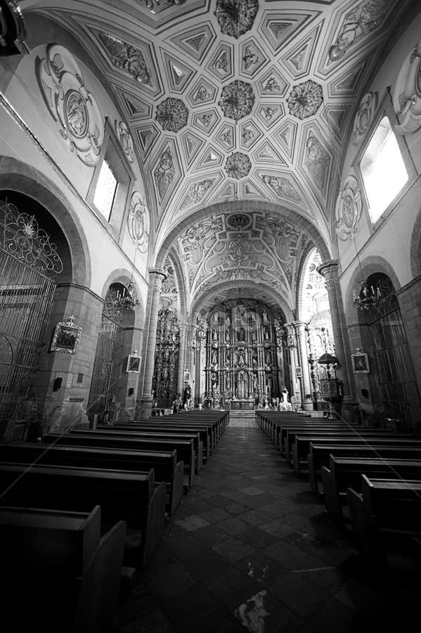 Church at Puebla I by Cristobal Garciaferro Rubio - Buildings & Architecture Other Interior ( interior, catholic, bench, church, puebla, dome, black and white, building, monotone )