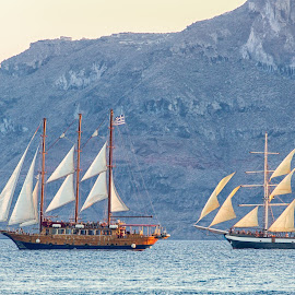 Clipper Ships by Dan Herman - Transportation Other ( sailing, sunset, greece, santorini )