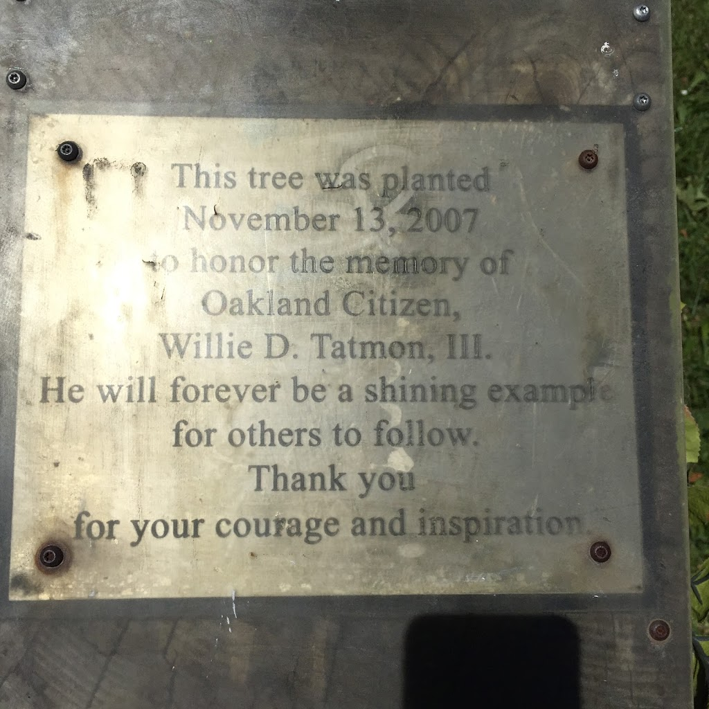 This tree was planted November 13, 2007 to honor the memory of Oakland Citizen Willie D. Tatmon, III  He will forever be a shining example for others to follow. Thank you for your courage and ...