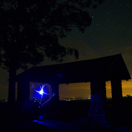 by Buddy Boyd - Abstract Light Painting ( heart, blue, ozarks, white rock, arkansas,  )
