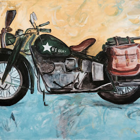WW2 Indian Motorcycle Company by Raymond Paul - Illustration Products & Objects ( indian motorcycle company, vintage, motorcycle, combat, military, memorbilia, custom )