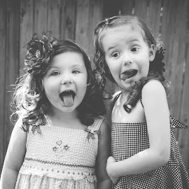 Silly faces by Jenny Hammer - Babies & Children Children Candids ( girls, best friends, black and white, silly faces, bffs, cute )