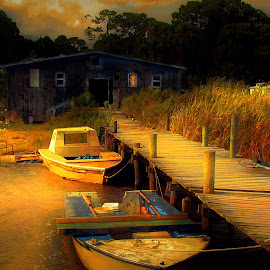 Ready for the Morning Run by Julie Dant - Transportation Boats ( apalachicola area, florida panhandle, coastal images, crab boats, florida piers, fishing boats, florida )