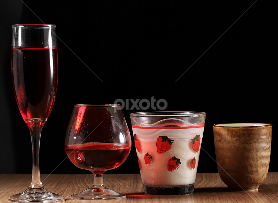 some drinks by Ismed  Hasibuan  - Food & Drink Alcohol & Drinks ( milk, alcohol, sake, kinds, glass, four, drinks )