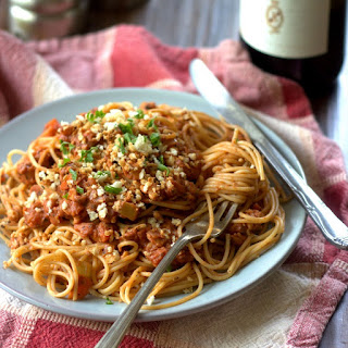 Spaghetti with Tempeh Vegan Ragù and Toasted Panko