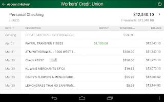 Screenshot of Workers' CU Mobile Banking