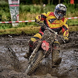 TRrough The Puddle ! by Marco Bertamé - Sports & Fitness Motorsports ( curve, red, mud, splash, motocross, speed, brown, race, accelerating, yellw, noise )