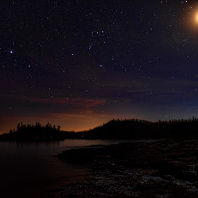 Orion's Belt over Lake Superior by Peter Stratmoen - Landscapes Starscapes ( minnesota, orion's belt, lake superior, nikon, starscape, nightscape,  )