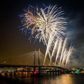Tilikum Fireworks - PDX by Gary Piazza - City,  Street & Park  Night ( sony, portland, tilikum crossing, fireworks, night, #GARYFONGDRAMATICLIGHT, #WTFBOBDAVIS )