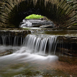 Old stonebridge by Peter Ljungberg - Landscapes Waterscapes ( water, brook, waterscape, summer, long exposure )