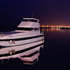 the YACHT by Jon Gonzales - Transportation Boats ( nighshoot, water, reflection, yacht, boat )