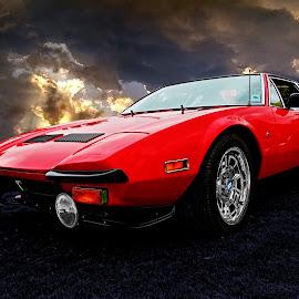 Dave's Panterra by JEFFREY LORBER - Transportation Automobiles ( car photos, panterra, lorberphoto, ferrari, panterra ferrari, rust 'n chrome, jeffrey lorber, red car )