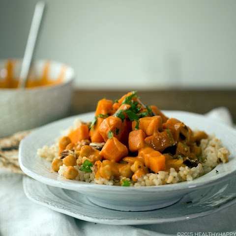 Spicy-Sweet Peanut Sweet Potatoes, Chickpea, Brown Rice Bowl
