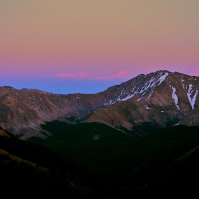 Mountain Sunset by Seamus Crowley - Landscapes Sunsets & Sunrises ( orange, mountain, sunsetblue, peak, snow, colorado, pink, dusk, aspen )