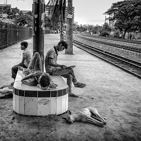 Tale Of A Terminal : Idle Platform by Rahat Amin - People Street & Candids ( platform, idle, railway, black and white, station, lifestyle, train, relaxing, nikon, d5100, people )