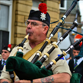 bagpipe player by Nic Scott - People Musicians & Entertainers ( bagpipe player )
