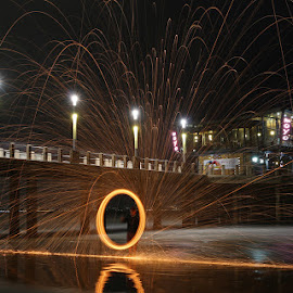 Light Painting at Moyo by David Knox-Whitehead - Abstract Light Painting ( light painting, circle, beach, sparks, fire )