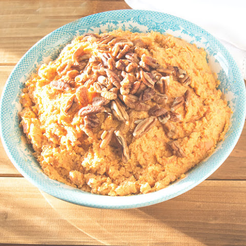 Whipped Pumpkin Sweet Potatoes with Maple & Brown Sugar Pecans