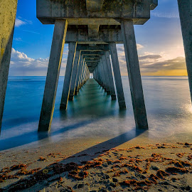 Afternoon Under the Pier by Bill Camarota - Buildings & Architecture Bridges & Suspended Structures ( water, clouds, sand, florida, gulf, shoreline, pier, long exposure )