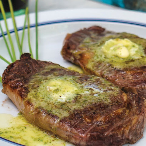 Grilled Rib-eye Steaks with Garlic Compound Butter