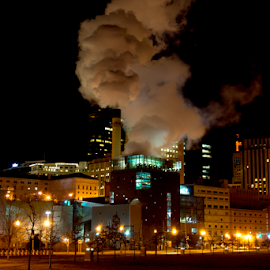 St Paul On A Cold Night by Tina Hailey - City,  Street & Park  Skylines ( lights, st.paul mn, tina's captured moments, night, smoke, city )