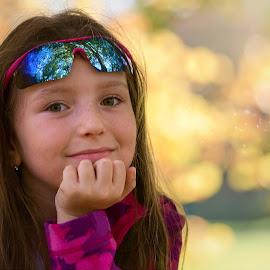 Autumn look by Jiri Cetkovsky - Babies & Children Child Portraits ( girl, autumn, tanja, sunglasses, portrait )