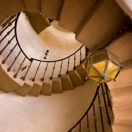 Sprial staircase by Gale Perry - Buildings & Architecture Other Interior ( death valley, illuminated, scotty's castle, staircase, spiral,  )