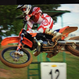 My Son Racing  by Teresa Flowers Wolford - Sports & Fitness Motorsports ( motorcycles, jumping, motocross, awesome, air, son, motorsport )